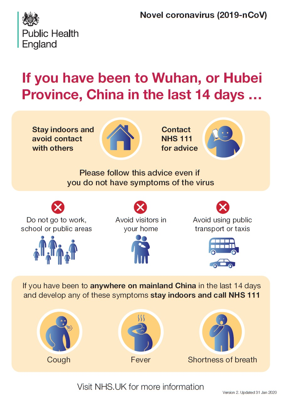 If you have been to Wuhan, or Hubei Province, China, in the last 14 days.... Stay indoors and avoid contact with others.  Contact NHS 111 for advice.  Please follow this advice even if you do not have symptoms of the virus.  Do not go to work, school or public areas.  Avoid visitors in your home.  Avoid using public transport or taxis.  If you have been to anywhere on mainland China in the last 14 days and develop any of these symptoms stay indoors and call NHS 111.  Cough, fever, shortness of breath.  Visit www.nhs.uk for more information
